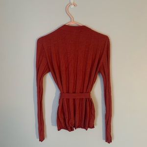 Akris Cashmere Ribbed Belted Cardigan